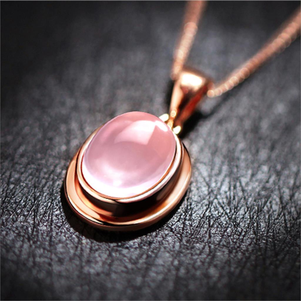 Hot Selling Rose Quartz Heart Silver Plated jewelry rose quartz necklace pendant moon of women's jewelry wholesale(China (Mainland))