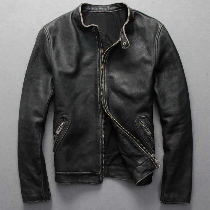 Factory Men Leather Jacket Genuine Real Calf Cow Skin Brand Vintage Retro Male Bomber Motorcycle Biker Coat Autumn Winter ZH140(China (Mainland))