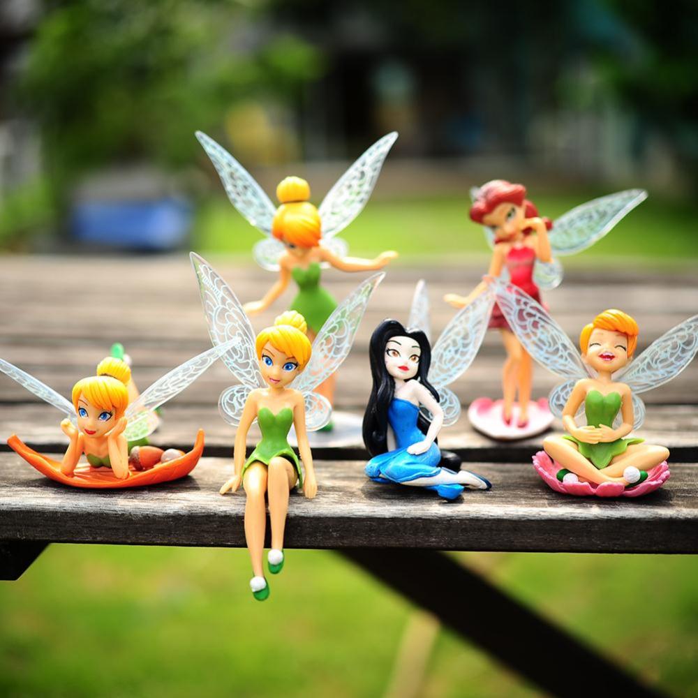6pcs/Set Christmas, Halloween Kids Gift Tinkerbell Dolls Flying Flower Fairy Children Animation Educational Cartoon Toys BabyToy(China (Mainland))