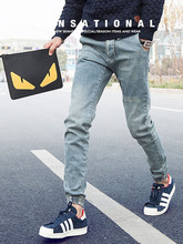 2015 New Arrival Jeans Slim Fit Jeans Men Hole Solid Color Mens Jeans Fashion Japanese Famous Brand Men Jeans Free Shipping(China (Mainland))