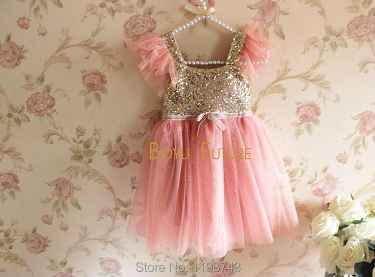 Free Shipping! Girl Dress Baby Toddler Sleeveless Golden Sequined Tulle Party Dress for Girls Sparkling Polka Dot Tutu Ball Gown(China (Mainland))