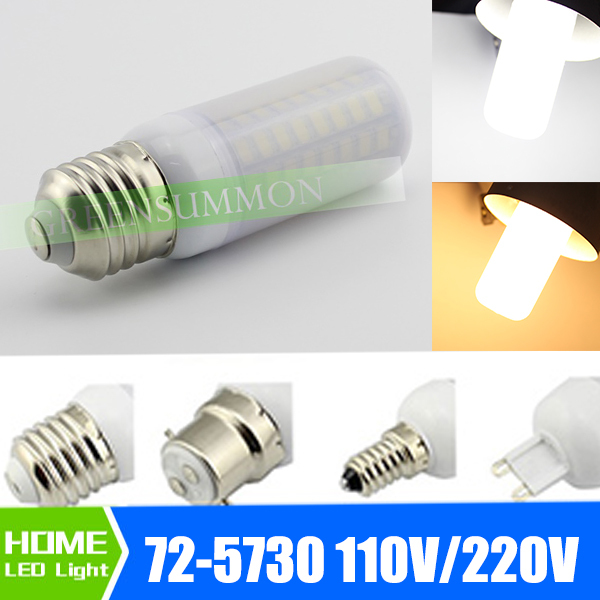 NEW SMD 5730 E12 E27 B22 E14 E26 G9 72 LED 25W Lamp 220V 110V Corn Bulb with Frosted Cover(China (Mainland))