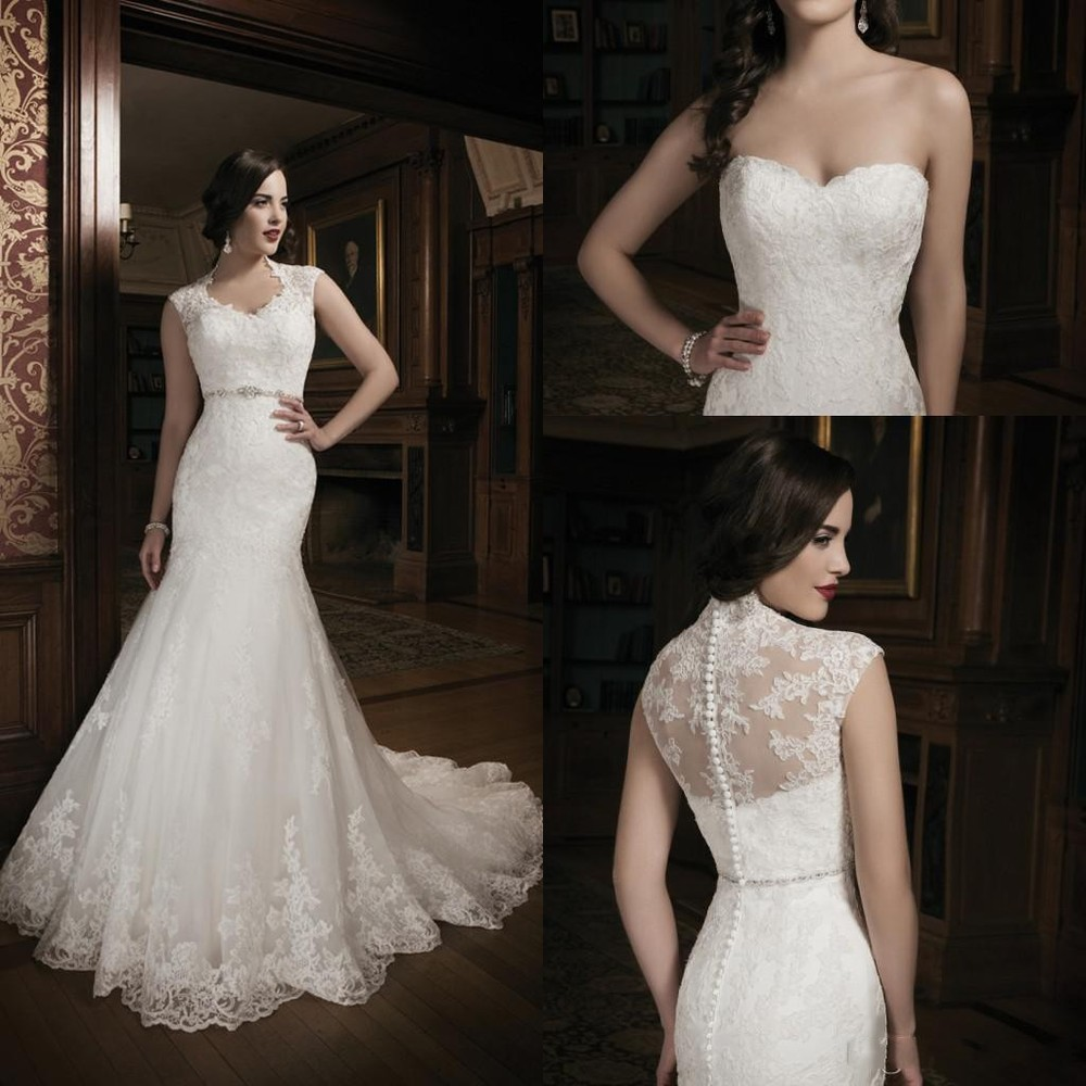2015 new collection mermaid lace ivory wedding dress for Heart shaped mermaid wedding dresses