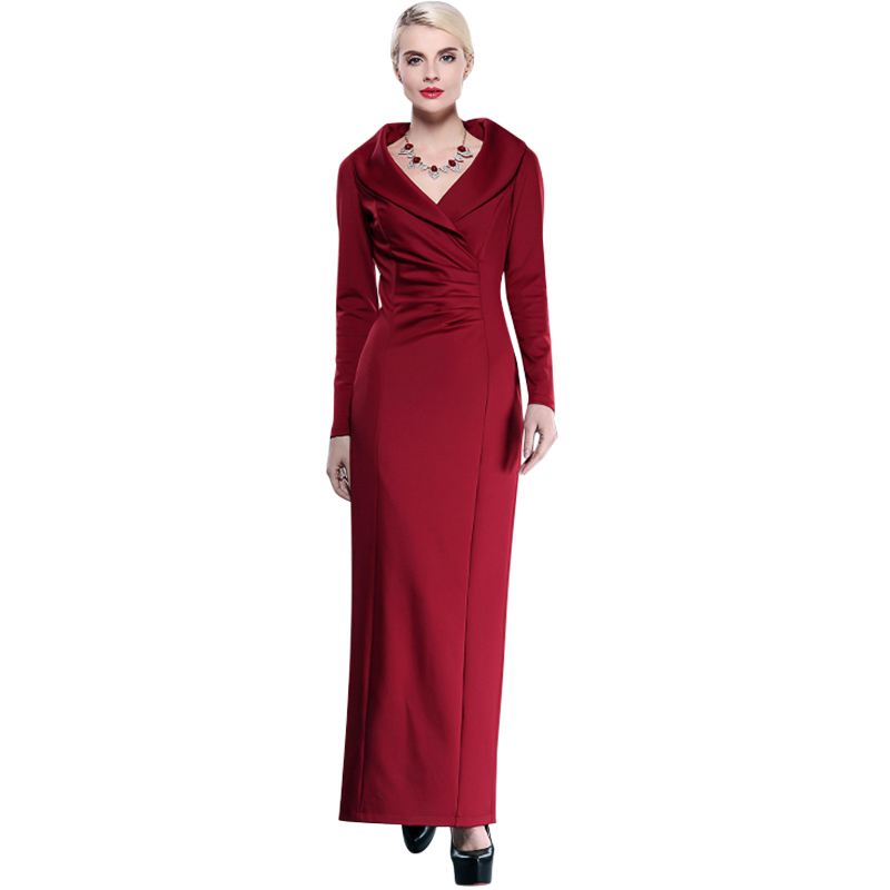 Vintage Plus Size Maxi Red Dresses 2016 Spring New Women Sexy Long Sleeve Slim Fitted Long Dress For Party Vestidos 1956Одежда и ак�е��уары<br><br><br>Aliexpress