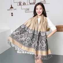 Bufandas de invierno Paisley Tippet de la India Cachecol Inverno étnica Bufandas 100% Pashmina turquesa Cyan moda borlas Echarpe(China)