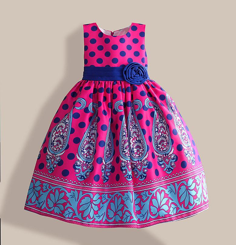 Гаджет  Amazing summer dress Blue Dot Floral Print girl party dress Silk Belt children clothing for 3-8Y vestidos infantis None Детские товары