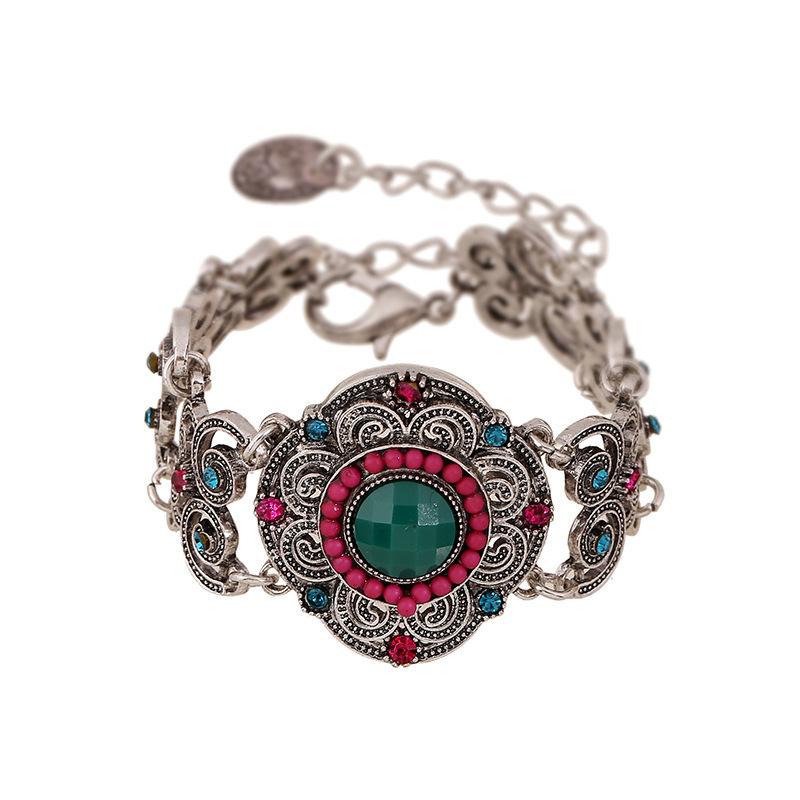 Fashion Luxury Vintage Flower Bracelets&Bangle Women Europe America Style Ladies Rhinestone Bracelet Party Gift(6 Color) - Ailsa Jewelry store