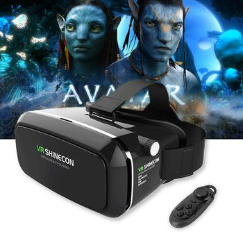 Shinecon VR Pro Version Virtual Reality 3D Glasses Headset Head Mount Google Cardboard Movie Game For 4-6 inch Phone + Remote