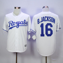 New Material Kansas City Royals Jersey #16 Bo Jackson Jersey White Color Stitch Throwback Baseball Jersey(China (Mainland))