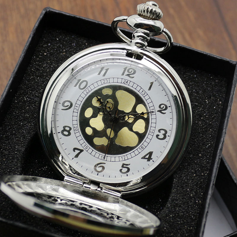 Fashion Hollow Quartz Pocket Watches Silver Chain Neckalce Gift Box P225 - Guangzhou Conbays Technology Co., Ltd. store