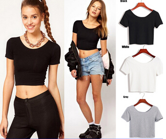 Basic Stretch Women Sexy Crop Top Girl Short Sleeve T Shirt Tee Black White Grey Vest