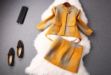 2015 women   new  spring yellow  Bow jacket and skirt suit   SR022