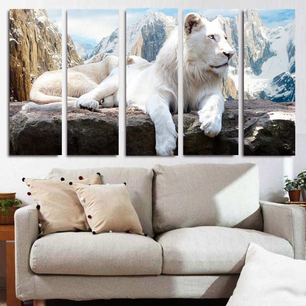 5 Panels Combinated Canvas Prints Modern Tiger Animal Canvas Painting On Canvas Tiger Mountain Background Landscape Oil Painting(China (Mainland))
