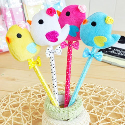Free Shipping-Lovely ballpoint pen with chick and bowknot,Promotion Gift fluffy ball pen,creative stationery,20 pieces/ lot(China (Mainland))