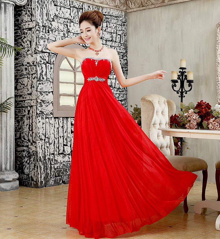 top bridal tube Red evening long formal dress costume robe de soiree abendkleider caftan kaftan party dresses(China (Mainland))