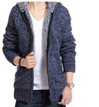 2014 man winter plus size thick velvet cotton hooded fur jacket men winter padded knitted casual sweater Cardigan coat