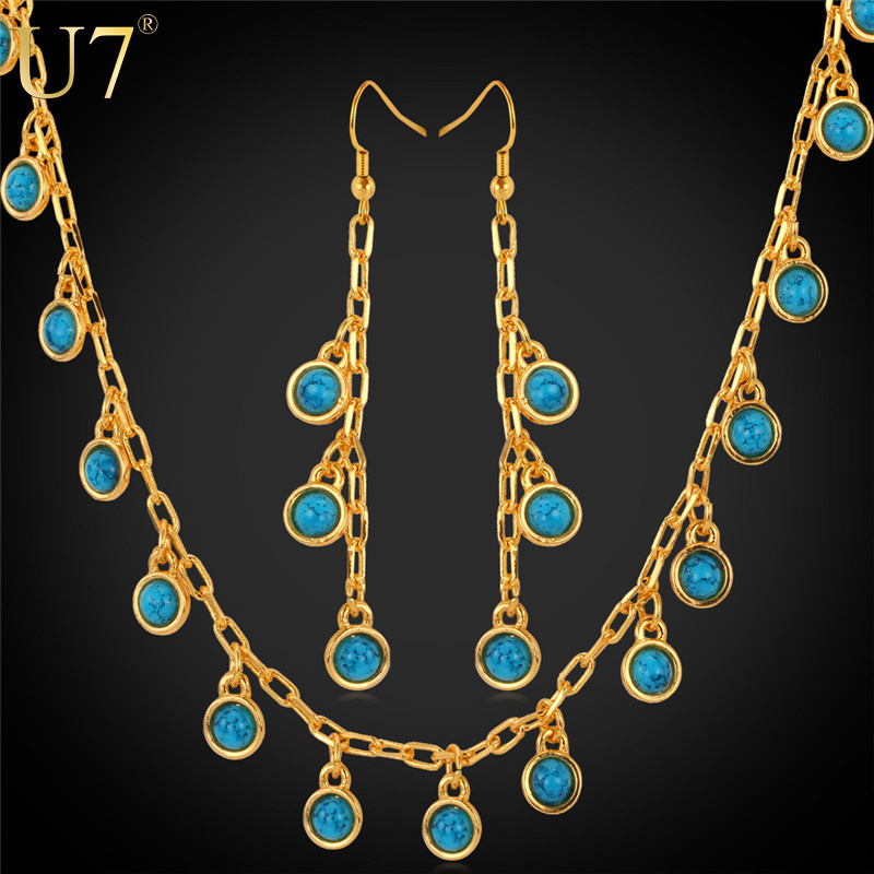 Long Earrings Necklace Set 2015 New Trendy 18K Real Gold Plated Turquoise Stone Plant Shape Fashion Jewelry Set For Women S570(China (Mainland))