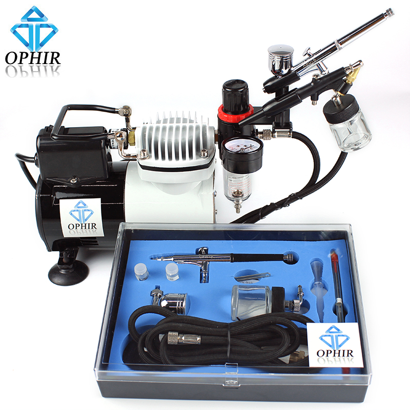 OPHIR Pro Airbrush Compressor Air Brush Kit for Temporary Tattoo Body Paint  Model Painting Airbrush Set_AC114+004A+071+074<br><br>Aliexpress