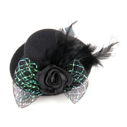 Short-term Sacrifices! Feather Hair Clip Flower Bow Black Mini Top Hat Party Lolita Cosplay Goth(China (Mainland))