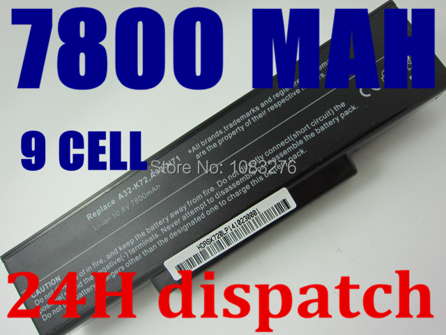 New 9cells 7800mah laptop battery For Asus A32-K72 A32-N71 A72 K72D K72 K72J K72R K72Q N73 K73 X77 A72D X77J X77VN(China (Mainland))