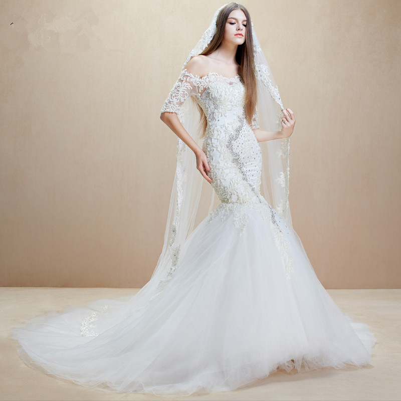Mzyw0048 off shoulder half sleeve heavy beaded dresses for Aliexpress mermaid wedding dresses