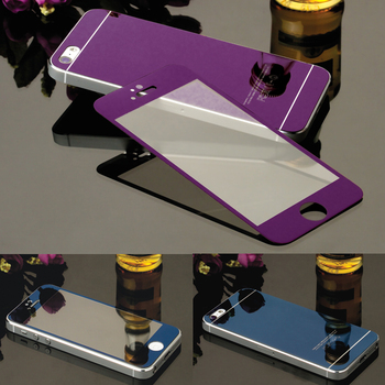 9H Full Cover Front+Back Electroplating Mirror Effect Tempered Glass Screen Protector Film case For iphone 4 4S 5 5S 6 6S Plus