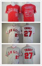 Высокое качество лос-анджелес ангелы джерси 100% прошитой #27 майк форель джерси аутентичные бейсбол размер бейсбол рубашки M-XXXL