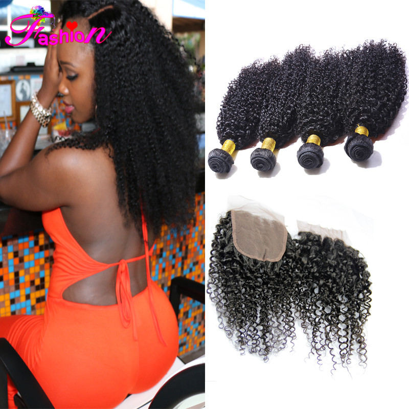 Top quality brazilian virgin hair human hair 5 bundles  brazilian kinky curly virgin hair with closure virgin hair with closure<br><br>Aliexpress