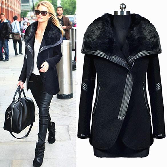 2015 New Winter Coat Women Woolen Coat Warm Black Big Fur Collar Outwears Zipper Lady Overcoats Jacketse SV03 CB034807