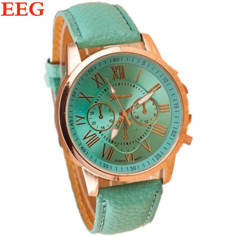 New Fashion Geneva Roman Numerals Genuine Leather Quartz Watch Women Dress Watches For Ladies Best Gift Wristwatches 13 Colors(China (Mainland))