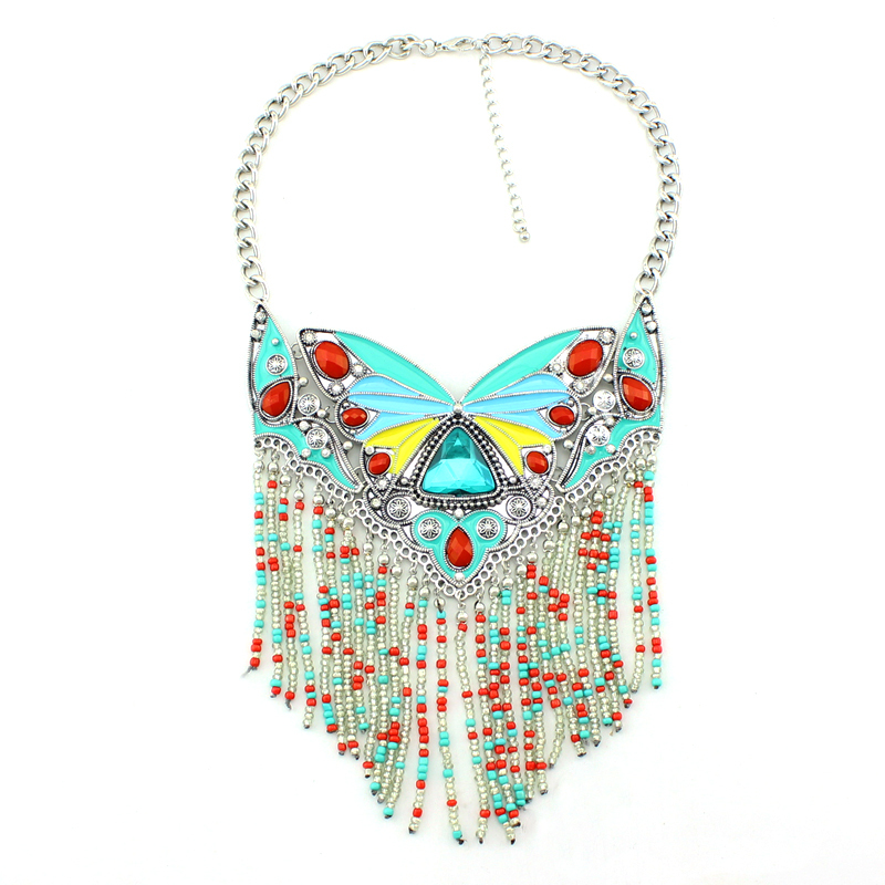 2015 Design Unique Tassels Necklaces High Quality Brand Collar Necklace Fashion Woman Statement Necklace Butterfly Jewelry()