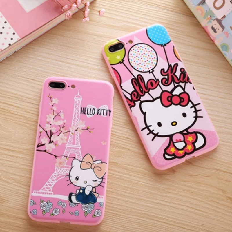 Fashion Cute Cartoon Pink Hello Kitty Phone Case For iphone 6 6s 6 plus Ultra-thin Painted Pattern KT Cat Case For iPhone7 Plus(China (Mainland))