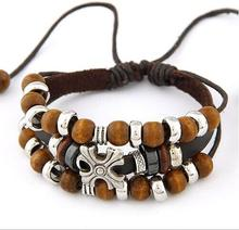 new leather chain European and American fashion national style metal leather bracelet wooden bead cross multi-layer bracelet(China (Mainland))