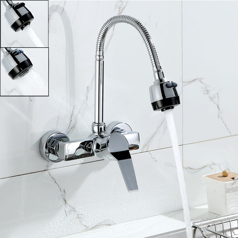 wall mounted dual sprayer kitchen faucet single handle. Black Bedroom Furniture Sets. Home Design Ideas
