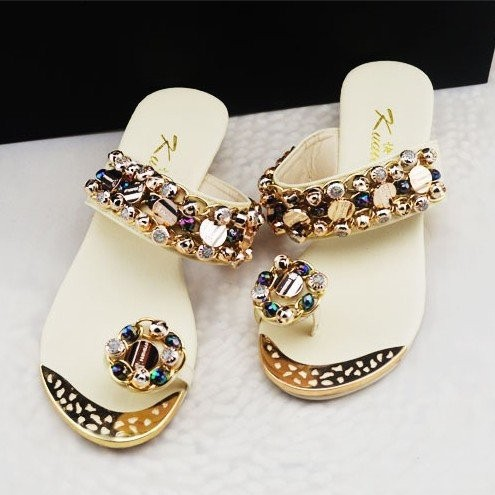Women Sandals 2015 Open Toe Summer Shoes Rhinestone Flat Heel Beading Ladies Flip Flops - Aliexpress Discount stores store