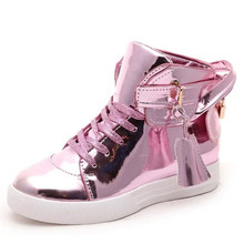 Zapatillas Deportivas New Hot Leather Women Casual Shoes Leather Flat Botas Mujer Slivery Pink Chaussure Lumineuse Free Shipping