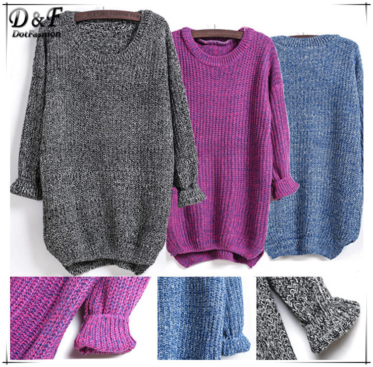 Hot Sale 2015 Fashion Female Pullover Knitwear Winter Clothing Jumper Casual Black Long Sleeve Dipped Hem Loose Knitted Sweater(China (Mainland))