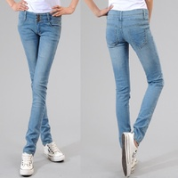 brand jeans women jeans high waist design single-breasted denim pencil pants XS~XXL Trousers,WTl