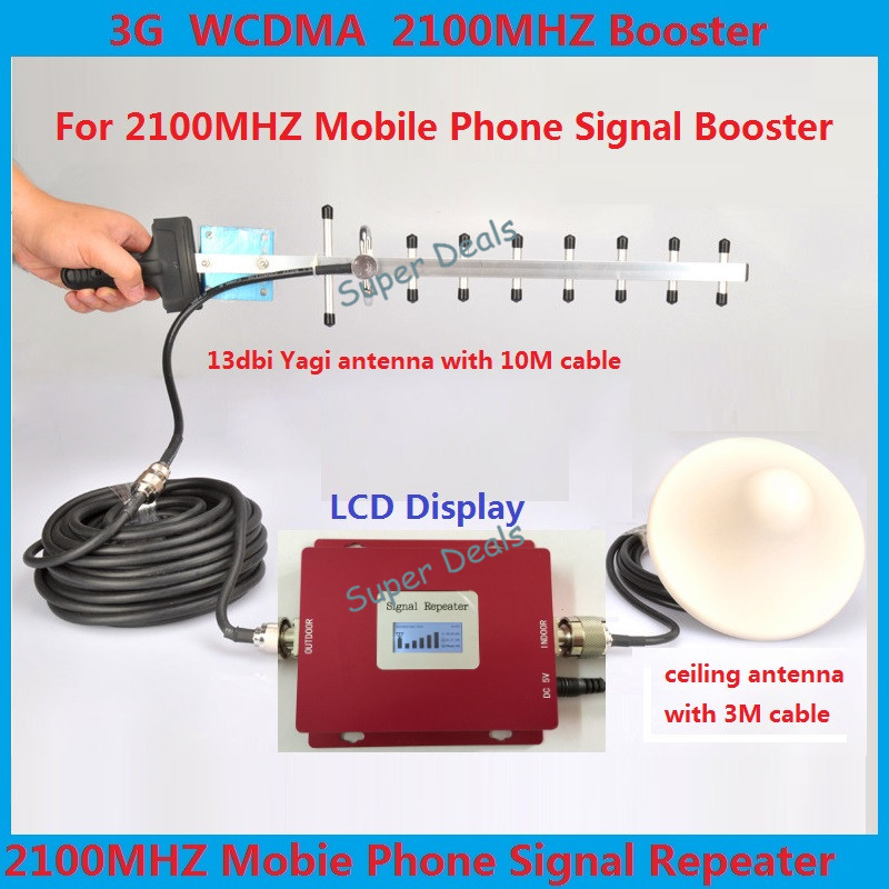 New Mini Repeater 3G UMTS W-CDMA 2100Mhz Repetidor 3G Repeater Booster Yagi and Ceiling Antenna Full Sets 3G Signal Booster Kits(China (Mainland))