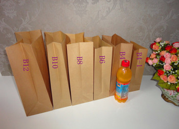 30(h)*15*10cm 60g brown kraft paper Eco-friendly food paper packaging bag bread take out gift bags