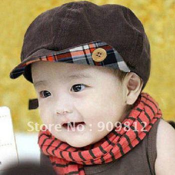 Free Shipping Button corduroy children cap, Baby monochoria hat, Autumn Winter cap, 3 color opp bag