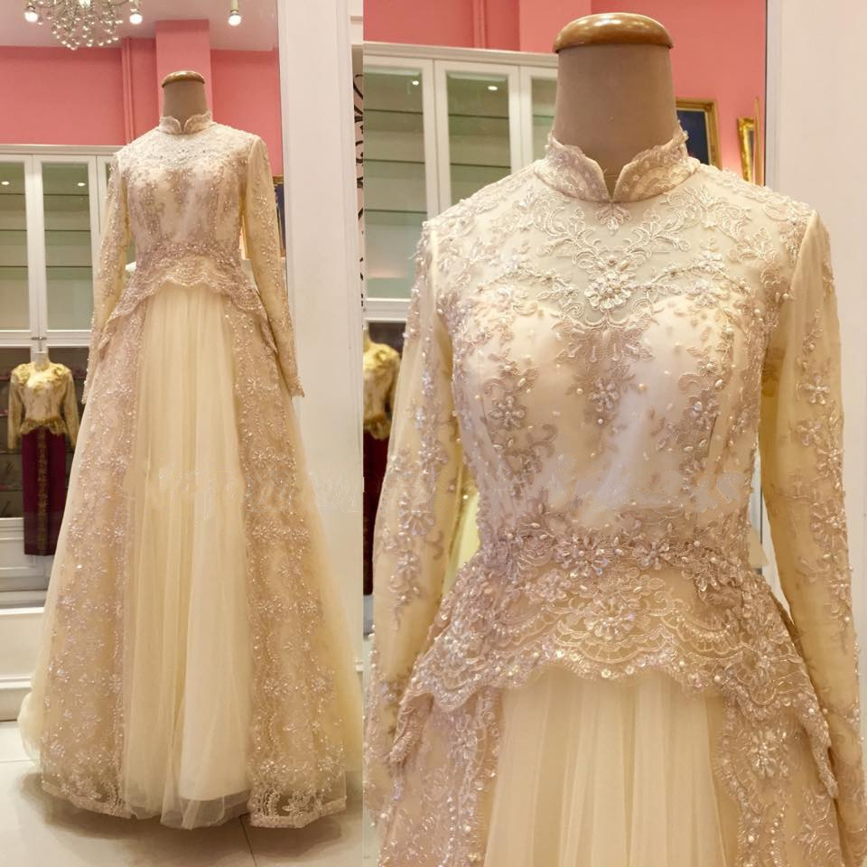 Beaded high neck long sleeve tulle bridal gown gold muslim for Wedding dresses with gold beading