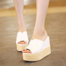 Summer Women Sandals 2016 New Thick Bottom Waterproof Calzado Mujer Straw Slipper High Heels Slides Plus Size 40 Platform Shoes