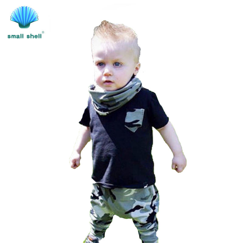 SMALL SHELL 2017 new Fashion style Baby Boys Summer brand Clothing Sets Fashion kids clothes Suit T-shirt + camouflage trousers(China (Mainland))