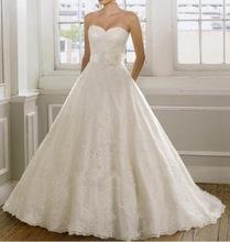 embroidery corset strapless White Ivory Crystal Beads Wedding Dresses 2016 Bridal Dress plus size party elegant Lace-up back(China (Mainland))
