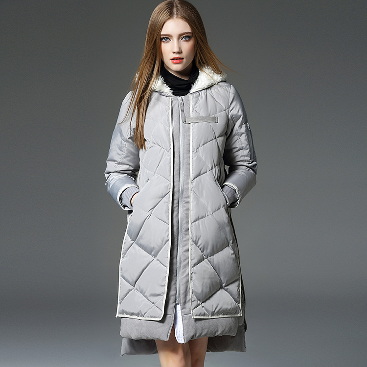 Здесь можно купить  2015 winter new style ladies knitted sleeves in front of elegant casual fashion white duck down jacket womens long maxi coats  Одежда и аксессуары