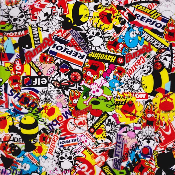 sticker bomb Cartoon Skulls Pattern Water Transfer Printing Hydro Graphics Film width 50cm GWAS001(China (Mainland))