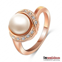 LZESHINE Brand Pearl Ring Weddiding Jewelry Rose Gold Plate SWA Elements Austrian Crystal Women Ring 2014 Ri-HQ1020-A