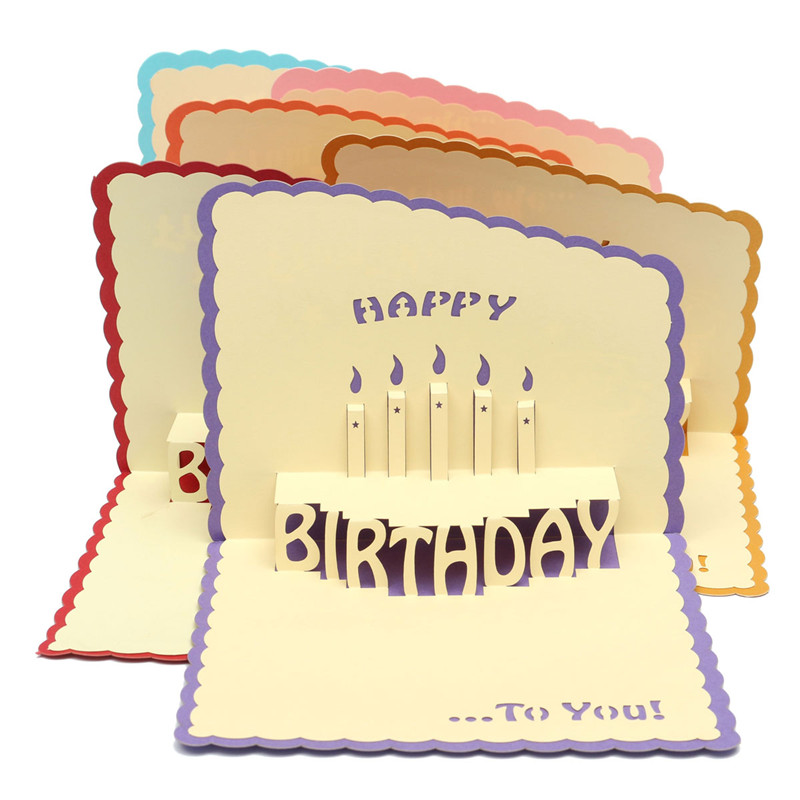 Multicolor 3D Cards Handmade Pop Up Greeting Card Happy Birthday Handcrafted Kirigami Origami Gifts With Envelope
