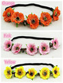 2016 New Women Sakura Wedding Hair Accessories Flower Crown Rose Wreath Elastic headband Floral Hairband Girls